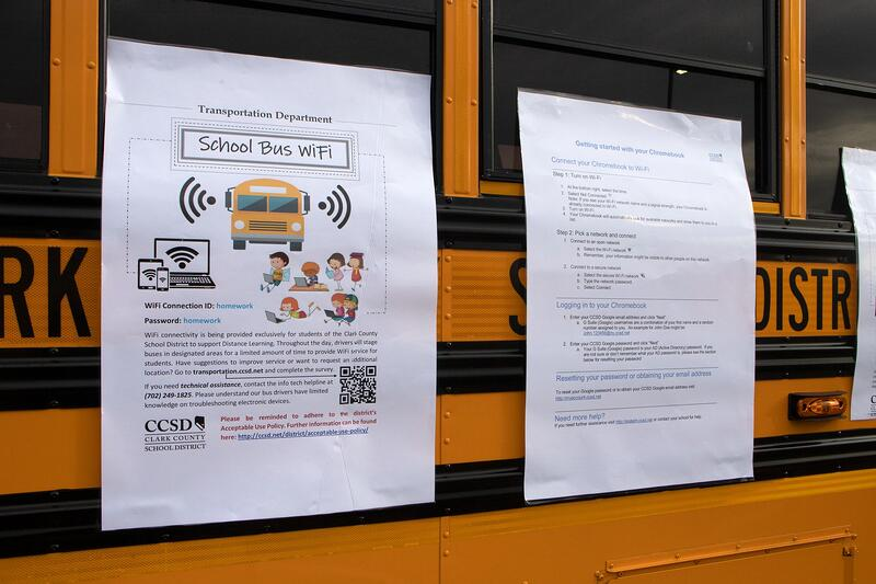 One of many CCSD school buses equipped with wifi