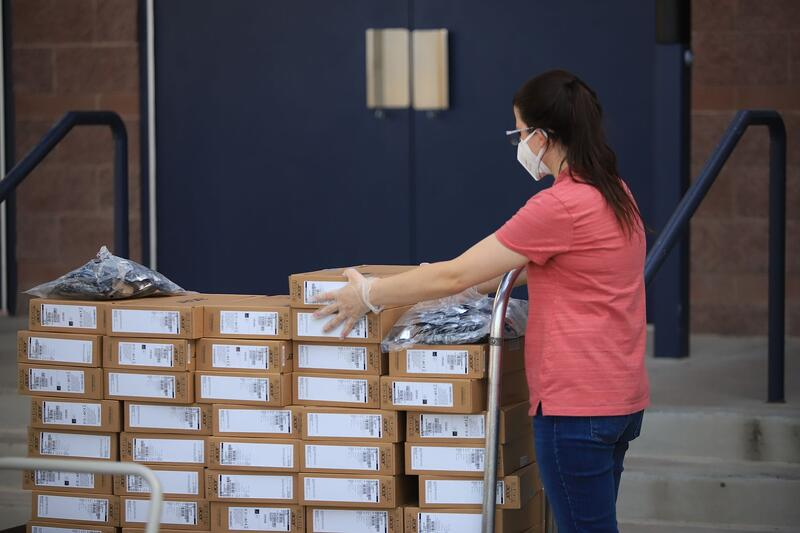 CCSD staff working to distribute Chromebooks