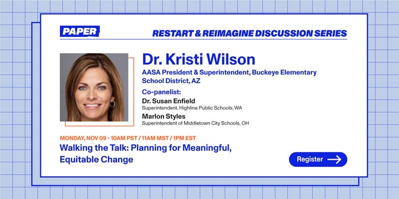 Restart and Reimagine panel banner with Dr. Kristi Wilson