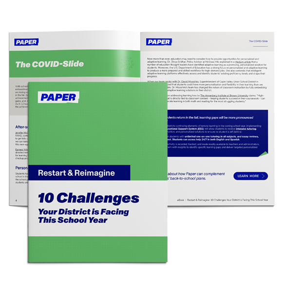 Cover and Spread of Ebook - 10 Challenges Facing Districts