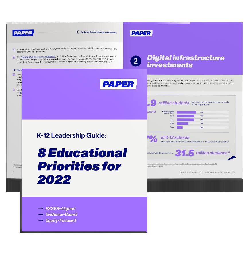 Cover and Spread of Ebook - Ebook-K12-Leadership-Guide-8-Priorities