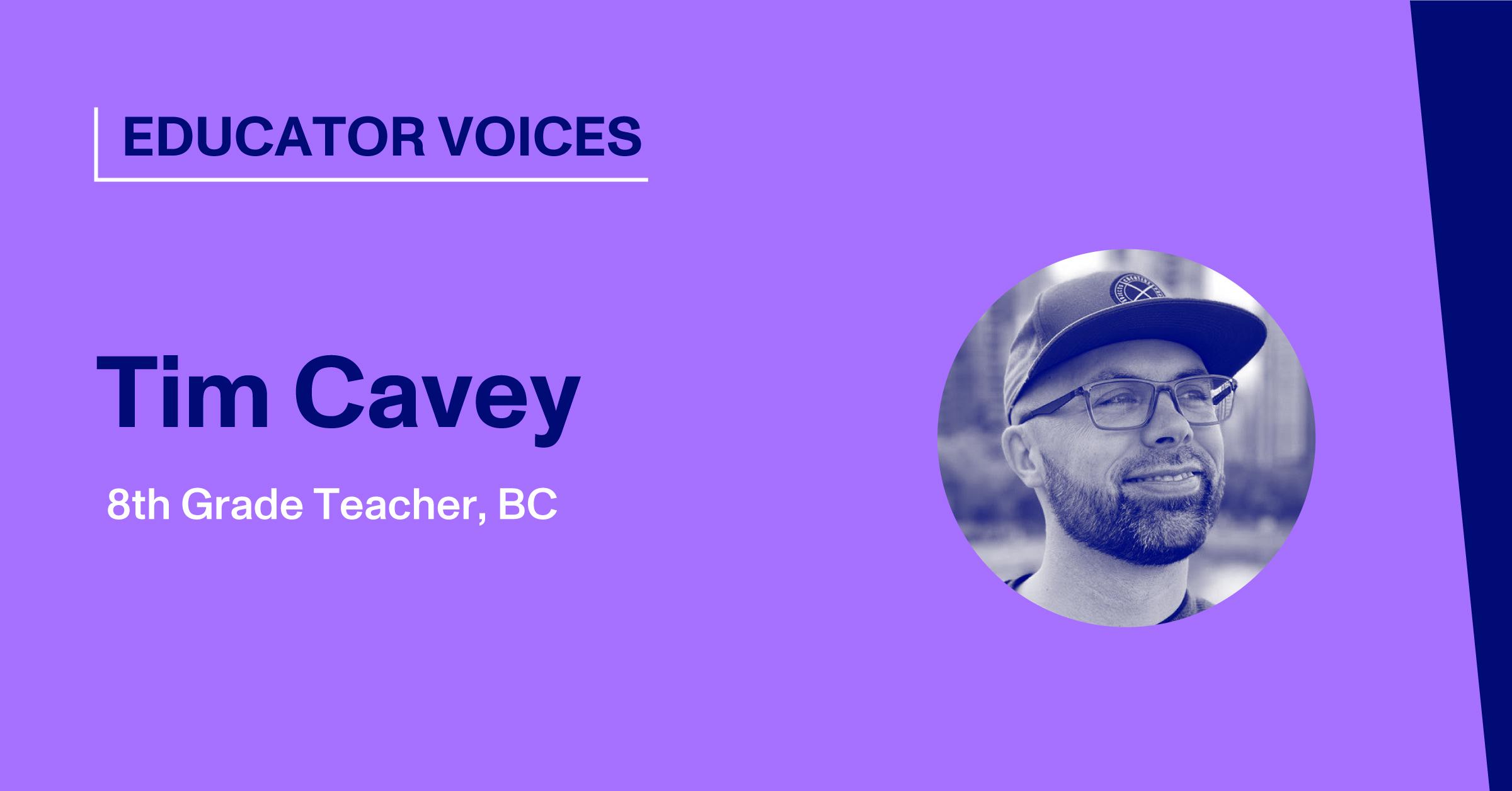 Blog Thumbnail with Headshot of Tim Cavey, Teacher