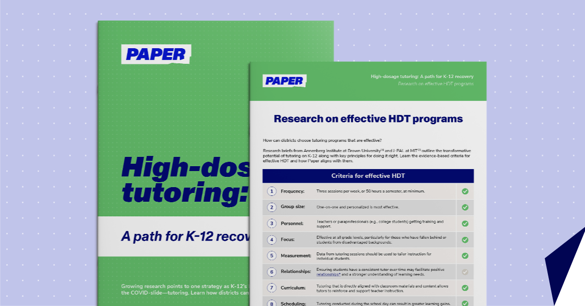 High-dosage tutoring: a path to K-12 recovery