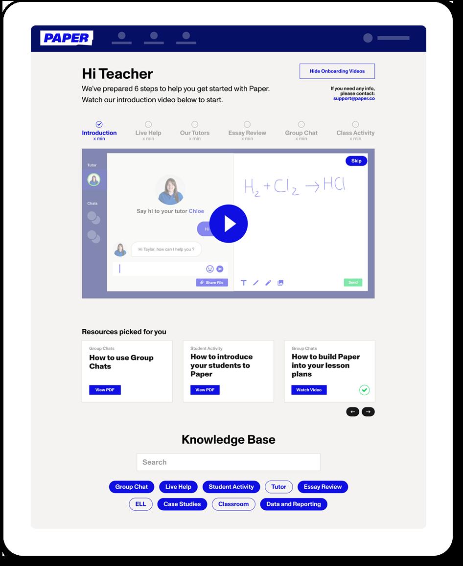 Screenshot of Paper's Student Dashboard